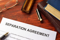 Separation agreement form. On an office table Stock Photo