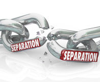 Separation Chain Links Break Apart Dividing Pulling Away. Separation word on chain links breaking apart and dividing or pulling away Royalty Free Stock Image