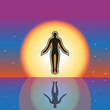 Separation from the earth and a levitation. A contour of the person in a cover from a rainbow royalty free illustration