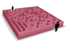 Separation maze puzzles man woman people symbols. A red maze puzzle separates man and woman symbolizing romantic and separation problems Royalty Free Stock Photos
