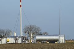 Separation station for oil and gas treatment. Oil and gas equipm Stock Images
