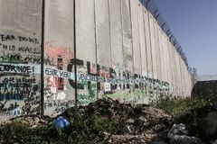 Separation Wall between the occupied palestinian territory's and. Israel beeing an obstacle to peace royalty free stock photos