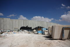 The separation wall in Palestine. The controversial wall built by Israeli state to separate it from Palestinian West Bank royalty free stock image