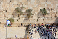 Separation of the Western Wall. JERUSALEM ISRAEL 26 10 16: Separation of the Western Wall in between men and women of ancient limestone wall in the Old City of Stock Image