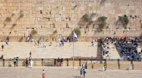 Separation of the Western Wall. JERUSALEM ISRAEL 26 10 16: Separation of the Western Wall in between men and women of ancient limestone wall in the Old City of Royalty Free Stock Images