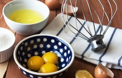 Separation the yolk of egg in little bowl and and preparation for the whisking of egg whites and yolks Royalty Free Stock Photo