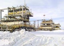 Separator. Equipment for oil separation. Modular oil treatment u. Russia, Nefteyugansk - January 24, 2016: Separator. Equipment for oil separation. Modular oil Royalty Free Stock Image