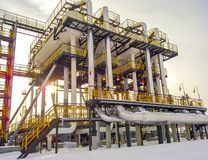 Separators are end. Equipment for oil separation. Modular oil tr. Eatment unit. Bulite for separation. Low pressure separators Royalty Free Stock Image