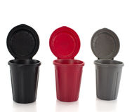 Seperated waste. Containers in red black and gray for seperated waste royalty free stock photography