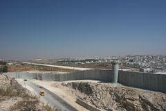 Seperation Wall Israel. The new security wall dividing Israel from Palestine stock photos