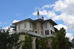Sepetciler kasri beautiful clouds above. Cleaning the symbol of white clouds and blue sky, ottoman yali Stock Images