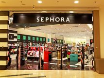 Sephora商店在罗马,有人购物的意大利 库存照片