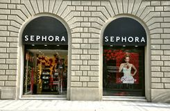Sephora cosmetics store in Florence , Italy. Sephora is a chain of cosmetics stores founded in France. The Sephora chain includes more than 750 stores in 21 Stock Image