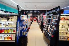 Sephora store. SINGAPORE - NOVEMBER 08, 2015: interior of Sephora store in The Shoppes at Marina Bay Sands. Sephora is a French brand and chain of cosmetics Royalty Free Stock Photo