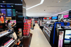 Sephora store. SINGAPORE - NOVEMBER 08, 2015: interior of Sephora store in The Shoppes at Marina Bay Sands. Sephora is a French brand and chain of cosmetics Stock Images