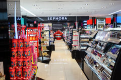 Sephora store. SINGAPORE - NOVEMBER 08, 2015: interior of Sephora store in The Shoppes at Marina Bay Sands. Sephora is a French brand and chain of cosmetics Royalty Free Stock Images