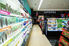 Sephora store. SINGAPORE - NOVEMBER 08, 2015: interior of Sephora store in The Shoppes at Marina Bay Sands. Sephora is a French brand and chain of cosmetics Stock Photo
