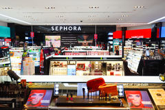 Sephora store. SINGAPORE - NOVEMBER 08, 2015: interior of Sephora store in The Shoppes at Marina Bay Sands. Sephora is a French brand and chain of cosmetics Royalty Free Stock Image