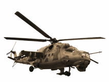 Sepia вертолета Mi-24V изолированный Mi-35 Стоковое Изображение RF