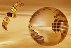 Sepia aarde met satelliet Stock Afbeelding