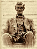Sepia Abraham Lincoln and the Emancipation Proclamation. This is a wonderful bronze statue of Abraham Lincoln seated on a beautiful chair with and eagle crest in vector illustration