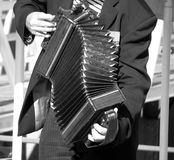 Sepia Accordian Player. Music in action Royalty Free Stock Photography