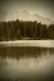 Sepia alpine lake Stock Photography