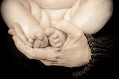 Sepia Baby Toes Royalty Free Stock Photos