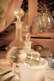 Sepia barber shop tools Royalty Free Stock Photos