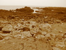 Sepia Beach. In Maine stock photos