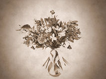 Sepia bouquet. Beautiful flowers in bouquet. Sepia photo Royalty Free Stock Photos