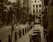 Sepia Brussels streetlife. Royalty Free Stock Photography