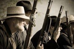 Sepia burgeroorlogmilitair klaar voor slag Stock Foto's