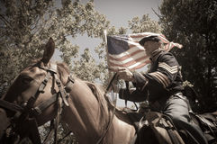Sepia calvary soldier civil war reenactment Royalty Free Stock Photography