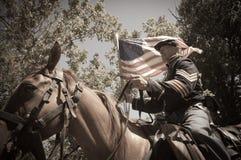 Sepia calvary soldier civil war reenactment Royalty Free Stock Photography