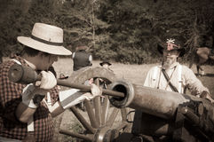 Sepia Cannon crew loading cannon Royalty Free Stock Images