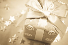 Sepia Christmas gift Stock Images