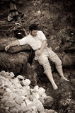 Sepia civil war confederate soldier near a creek Royalty Free Stock Photos