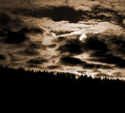 Sepia cloudscape over forest Royalty Free Stock Photography