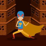 Sepia color background buildings brick facade with superhero man with costumes and mask complete. Vector illustration Royalty Free Stock Images