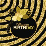 Sepia color background with lines and frame with decorative flowers and text happy birthday inside. Vector illustration Royalty Free Stock Photography