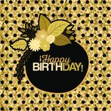 Sepia color dotted background with frame with decorative flowers and text happy birthday inside. Vector illustration Royalty Free Stock Photo
