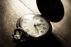 Sepia color filtered of pocket watch. Stock Image