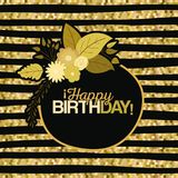 Sepia color lines background with circular frame with decorative flowers and text happy birthday inside. Vector illustration Royalty Free Stock Image