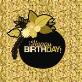 Sepia color pixel background with circular frame with decorative flowers and text happy birthday inside. Vector illustration Royalty Free Stock Images