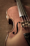 Sepia color of wood violin. Royalty Free Stock Photography
