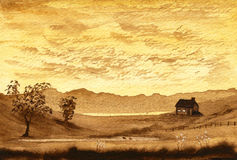 Sepia Cottage. A sepia landscape painting of a cottage Royalty Free Stock Images