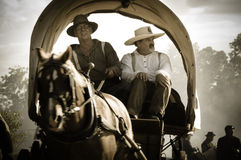 Sepia Covered Wagon in civil war reenactment Stock Image