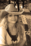 Sepia Cowgirl with Guitar Royalty Free Stock Photo