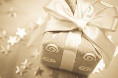 Sepia de gift van Kerstmis Stock Afbeeldingen